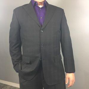 MECCA black 3 button suit with purple stripes 40R